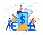 Profit From Currency Exchange Services Cartoon. Man Sits On Screen Large Smartphone. Mobile Applicat poster