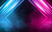 Background Of Empty Stage Show. Neon Blue And Purple Light And Laser Show. Laser Futuristic Shapes O poster