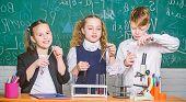 Inspire. Little Children. Science. Little Kids Scientist Earning Chemistry In School Lab. Chemistry  poster