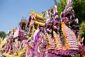 CHIANG MAI, THAILAND - FEBRUARY 4: Traditionally decorated floral float in procession on Chiang Mai