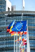 Vertical Image Flags Of All Member States Of The European Union Waving In Calm Wind In Front Of The  poster
