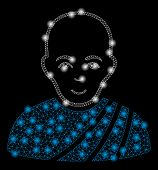 Bright Mesh Buddhist Monk With Lightspot Effect. Abstract Illuminated Model Of Buddhist Monk Icon. S poster