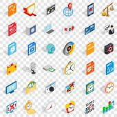 Multimedia Icons Set. Isometric Style Of 36 Multimedia Vector Icons For Web For Any Design poster