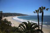 Laguna Beach California Main Beach. Laguna Beach with blue skies and blue ocean waves. Vacation Dest poster