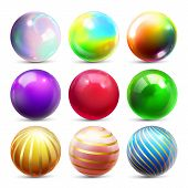 Shine Sphere Set . Orb Shining Ball. Glowing Metal Or Plastic Abstract Circle. Glossy Shine Icon. Go poster