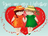 Happy Valentines Day. A Pair Of Girls On The Background Of The Heart. The Concept Of Same-sex Lesbia poster