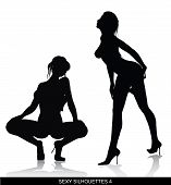 stock photo of pornography  - sexy dancer silhouettes isolated on white background - JPG
