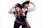 picture of pirate girl  - two pirate man and woman looking away - JPG