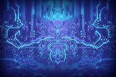 Future Digital Technology Motherboard Track Contacts Light Dark Background. Creative Idea. Future Te poster