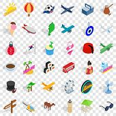 Touring Icons Set. Isometric Style Of 36 Touring Vector Icons For Web For Any Design poster