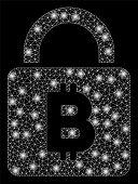 Bright Mesh Bitcoin Lock With Glare Effect. Abstract Illuminated Model Of Bitcoin Lock Icon. Shiny W poster