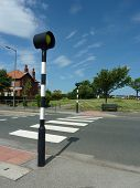 Upright view of urban zebra crossing without traffic.