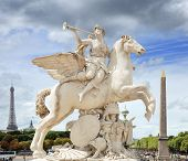 stock photo of pegasus  - The statue of Renommee or the fame of the king riding the horse Pegasus  - JPG