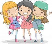 foto of chums  - Illustration of a Group of Girls Huddled Together - JPG