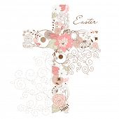 stock photo of evangelism  - Beautiful cross made from flowers - JPG