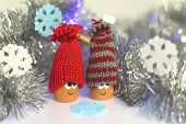 picture of tawdry  - Two happy gnomes in new year tinsel and paper snowflakes