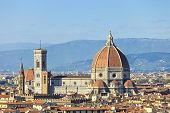 Florence, Duomo Cathedral Landmark. Panorama View From Michelangelo Park. Italy
