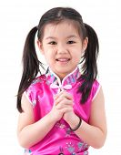 picture of traditional attire  - Chinese young girl in traditional Chinese cheongsam blessing - JPG