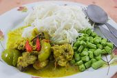 picture of gai  - Thai Cuisine green curry with chicken and noodles gaeng kiaw waen gai