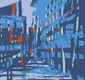pic of urbanisation  - An abstract illustration of big city buildings - JPG