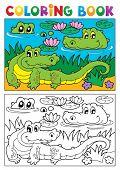 foto of crocodilian  - Coloring book crocodile image 2  - JPG