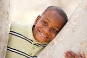 Young Handsome African American Boy Playing in the Park.