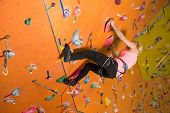 picture of climbing wall  - The girl climbs the steep wall on the climbing gym - JPG