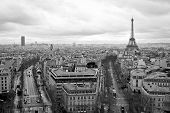 stock photo of arch  - Paris view from Arch of Triumph in black and white - JPG