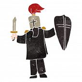 picture of arthurian  - retro cartoon medieval black knight - JPG