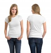 stock photo of teenagers  - Photo of a teenage female in with long blond hair posing with a blank white shirt - JPG