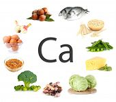 stock photo of legume  - Collage of products containing calcium - JPG