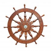 foto of ship steering wheel  - Steering wheel of sailing boat isolated on white background with clipping path - JPG