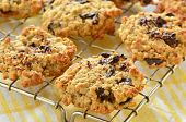 picture of racks  - Fresh baked chocolate chip oatmeal cookies on metal cooling rack