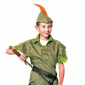image of fletching  - Young Robin Hood with sword isolated over white - JPG
