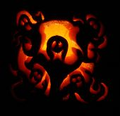 stock photo of jack-o-laterns-jack-o-latern  - Pumpkin carving glowing in the dark - JPG
