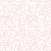 stock photo of lace  - Seamless pink background with white lace fabric pattern - JPG
