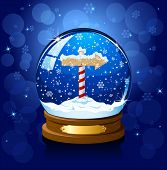 stock photo of north-pole  - Christmas Snow globe with North Pole sign and the falling snow - JPG
