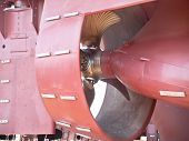 stock photo of rudder  - propeller and rudder of ship on shipway - JPG