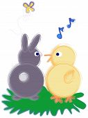 Spring Time Bunny And Chick Having A Happy Conversation. poster
