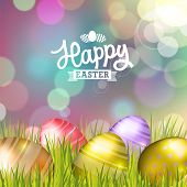 picture of easter decoration  - Easter bokeh background with eggs on meadow of purple colors - JPG