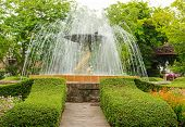 stock photo of fountain grass  - The fountain in the garden in the style of renaissance - JPG