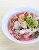 stock photo of thai cuisine  - rice noodles in pink soup - JPG