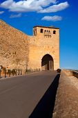 Morella in castellon Maestrazgo castle fort entrance door at Spain
