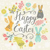 picture of easter eggs bunny  - Bright happy easter card in vector - JPG