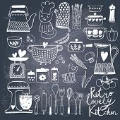 stock photo of teapot  - Vintage kitchen set in vector on chalkboard background - JPG