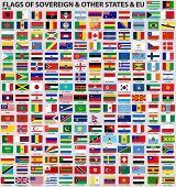 stock photo of flags world  - Vector set of Flags of world sovereign states  - JPG