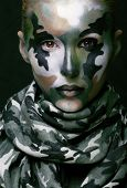 stock photo of khakis  - Beautiful young fashion woman with military style clothing and face paint make - JPG