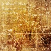 An Old Grunge Scientific Background with Mathematical Equations