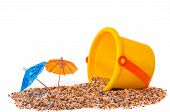 Isolated shot of beach toys, bucket