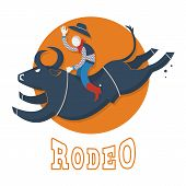 image of bull riding  - Rodeo symbol illustration - JPG